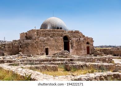 Umayyad Palace at the Amman Citadel (Jabal al-Qal'a), a national historic site at the center of downtown Amman, Jordan.