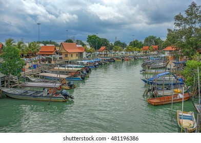 UMBAI, MALACCA - 15 MAY : Boats park at Umbai Jetty, Malacca, Malaysia on 15 May 2016. Umbai jetty is the main jetty entrance to the Pulau Besar, Malacca, Malaysia