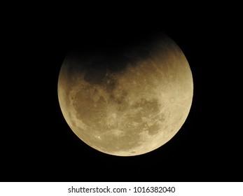 Umbral phase of Lunar eclipse on 31st Dec 2018 at 20:31 IST, Vadodara, Gujarat State, India