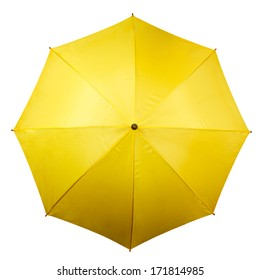 Umbrella from above isolated on white background. Yellow umbrella top on white