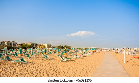 Umbrella beach for relaxing and sun set beach. Bibione, Italy