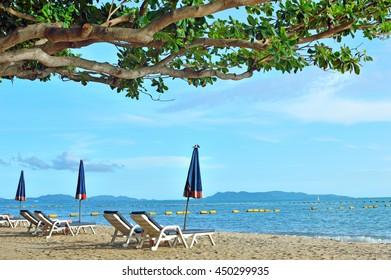 Umbrella beach for  relaxing and sun shine beach in Pattaya,Thailand