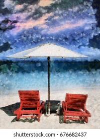 Umbrella and chaise lounges on a beach.