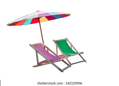 umbrella and couples wood chairs beach isolated white for summer and sea beach location topic