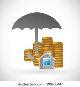 umbrella and home and coins underneath. illustration design over a white background