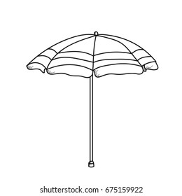 Umbrella illustration on a white background.Black and white color line art