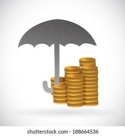 umbrella monetary protection illustration design over a white background