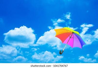 umbrella on blue sky