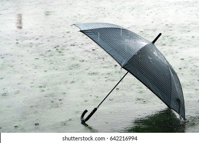 Umbrella on rainy day - The raindrops falling on an umbrella which put on the ground, make me so lonely.