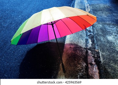 umbrella on a rainy day,colorful and vivid color.
