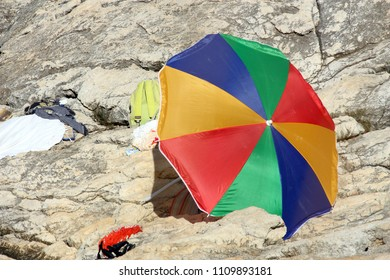umbrella on the rocks