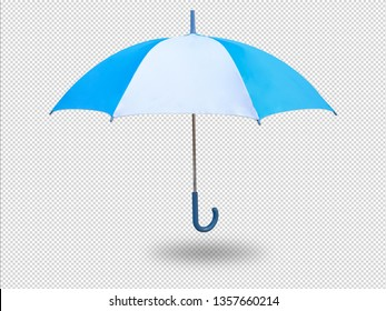 umbrella on transperent picture background, blue and white unbrella