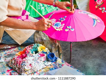 Umbrella painting, handmade fabric umbrella in Chiang mai (  bo -sang) , Thailand.