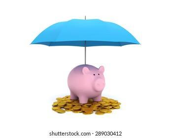 Umbrella with Piggy bank