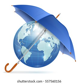 Umbrella Protect Earth, icon isolated on white background