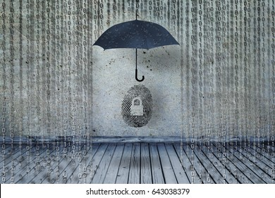 umbrella protecting fingerprint or finger id from cyber hacking and fraud in binary codes as like rain, guarding idendity symbol and personal information