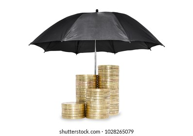 Umbrella protection coins savings a business. Protection money or corruption concept