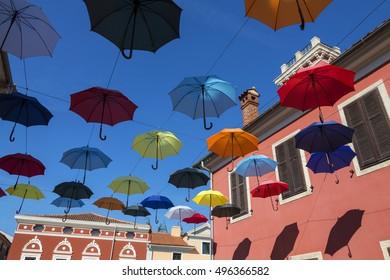 Umbrella Street in the coastal town of Novigrad on the Istria Peninsula in Croatia.