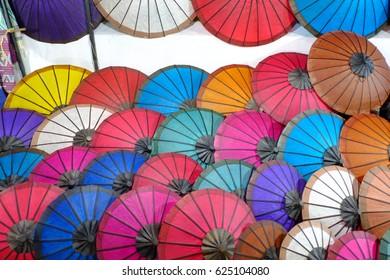 Umbrella at a tipical market, Luang Prabang, Laos.