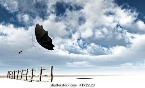 Umbrella turned inside out is blown over a wooden fence at the beach. Big sky with white clouds, Conceptual and metaphor illustration - background with room for text