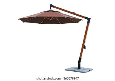 Umbrella used with garden furniture on white background