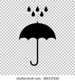 Umbrella with water drops. Rain protection symbol on transparent background
