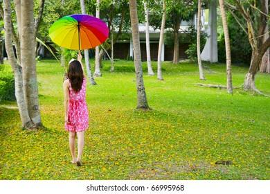 Umbrella Woman in  park