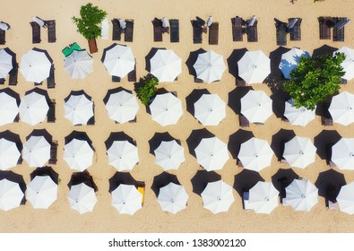 Umbrellas as a background from top view. Beach and sand background from top view. Summer seascape from air. Bali island, Indonesia. Travel - image