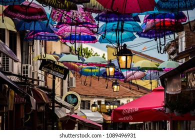 Umbrellas decoration on the street in Old town bazaar,May 7th 2018,Skopje,Republic of Macedonia. Old town bazaar is a bazaar in Skopje located on the eastern bank of Vardar River.