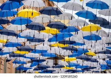 Umbrellas hanging in the city center of Brno, Czech Republic