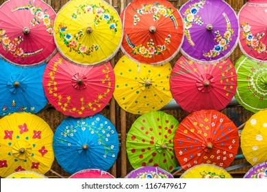 Umbrellas made of colorful fabrics, Thai crafts.