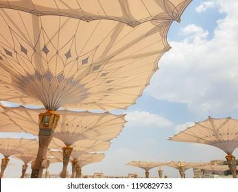 umbrellas at the Madinah Masjidunnabavi Phrophet's Mosque