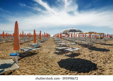 Umbrellas on the beach of Lido di Jesolo near Venice, Veneto region, Italy.