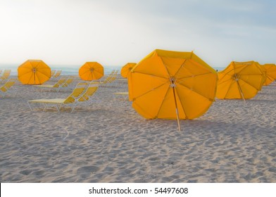 Umbrellas on South Beach in Miami, Florida