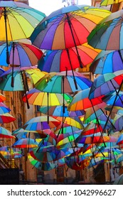 the umbrellas in the passage Victoria, Bucharest