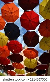 umbrellas of the rue du Cul-de-Sac, in the Quartier Petit Champlain,  in Quebec City