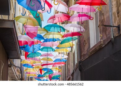 Umbrellas in a street of Avignon, France