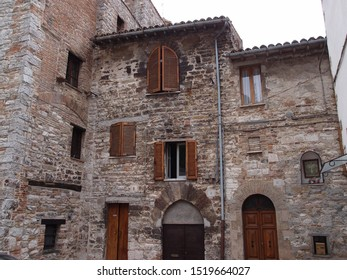 UMBRIA, ITALY, August 2016: touristic trip. Travel view of Gubbio featuring house Middle Age. The image location is Umbria in Italy, Europe.