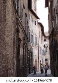 UMBRIA, ITALY, August 2016: touristic trip. Travel view of Gubbio featuring alley pebbles. The image location is Umbria in Italy, Europe.