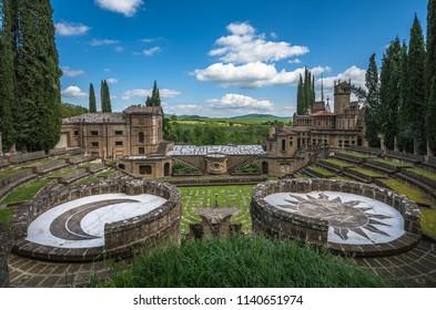 Umbria, Italy - May, 5, 2016: La Scarzuola, Tomaso Buzzi ideal city of Umbria