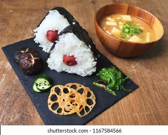 Ume Onigiri with Shitake Mushroom Pickle Fried Lotus Root and Miso Soup