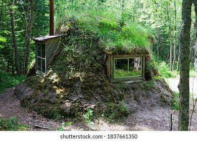 Umea, Norrland Sweden - May 29, 2020: a house built by Sami that resembles something that Hobbits lives in