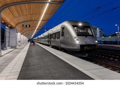 Umea, Sweden - Aug 01, 2017: SJ high speed passenger train SJ3000 at Umea central station a late summer evening.