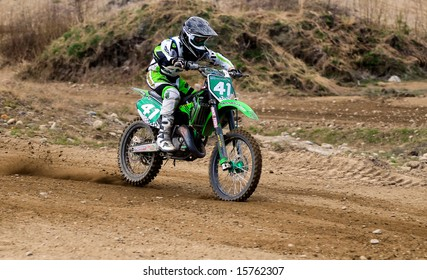 UMEA, SWEDEN: MAY 4, 2008: motocross rider in a junior dirt track race in Bussjon, Sweden, may 2008