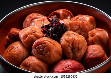 Umeboshi, Japanese traditional preserved food. Pickled plum fruit.