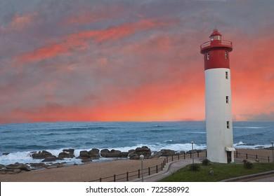Umhlanga Lighthouse at sunrise, Durban, South Africa