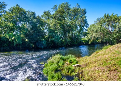 Umia river water flowing between the riparian forest in Ribadumia town, Galicia, Spain