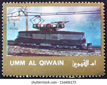 UMM AL-QUWAIN - CIRCA 1972: a stamp printed in the Umm al-Quwain shows Electric Locomotive, circa 1972