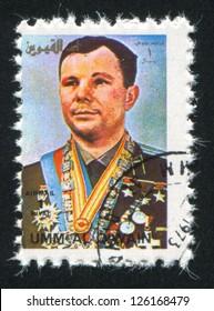 UMM AL-QUWAIN - CIRCA 1972: stamp printed by Umm al-Quwain, shows Yuri Gagarin, circa 1972