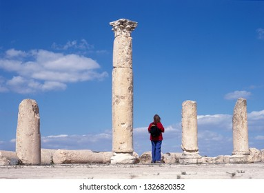 UMM QAIS, JORDAN-MAY,05,2017: Ruins of the church at Umm Qais, situated 110 km (68 miles) north of Amman, Jordan, on a broad promontory 378 meters above sea level